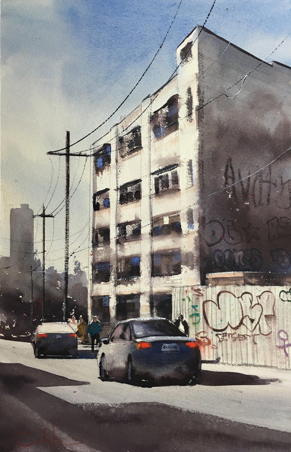"Scott Ave, Brooklyn  Watercolor on paper  21.5"" x 14"""