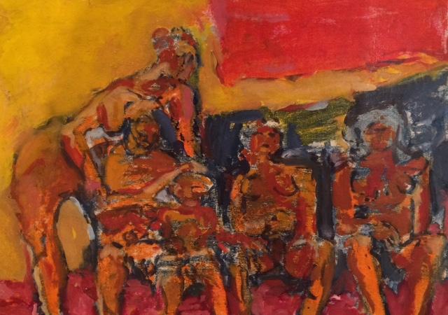 """Women Gathering  Oil on panel  Framed, 11"""" x 14"""""""