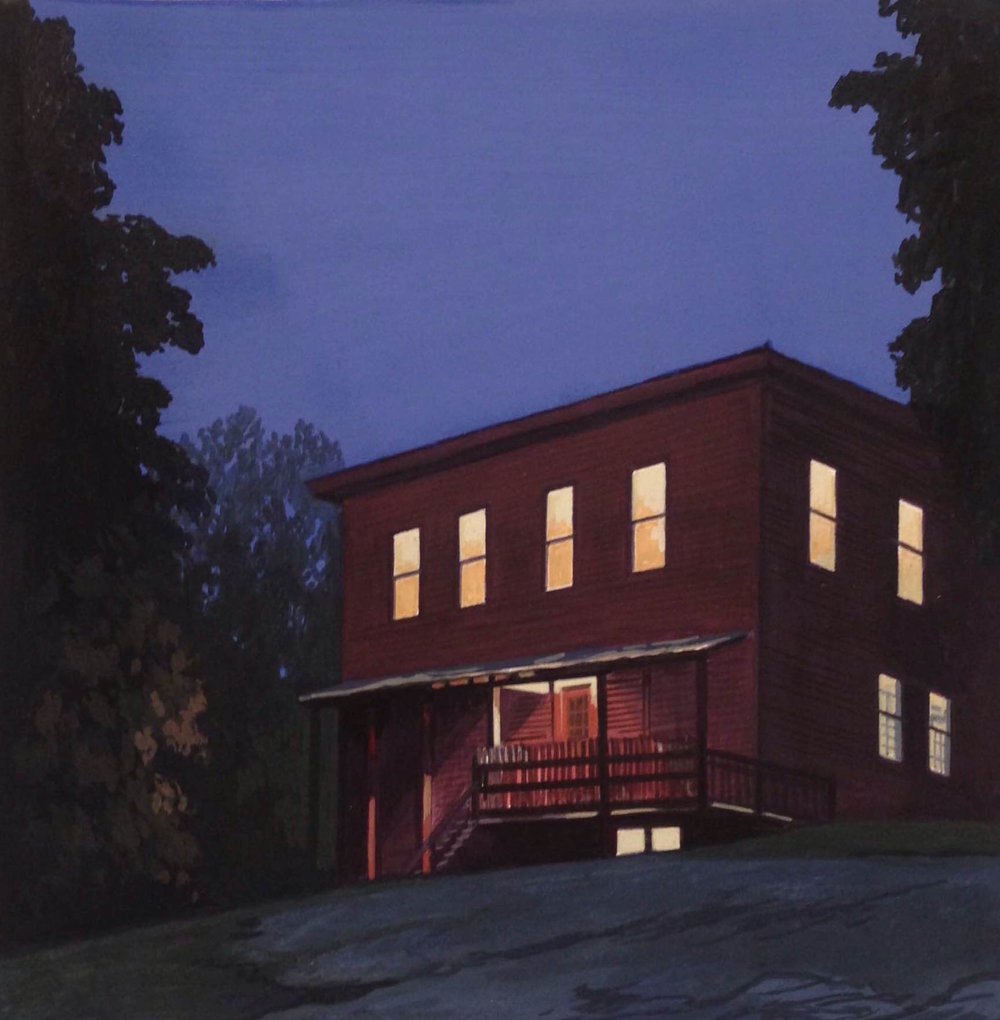 "Johnson, VT Nocturne #4  Gouache on paper  Framed, 12"" x 12"""