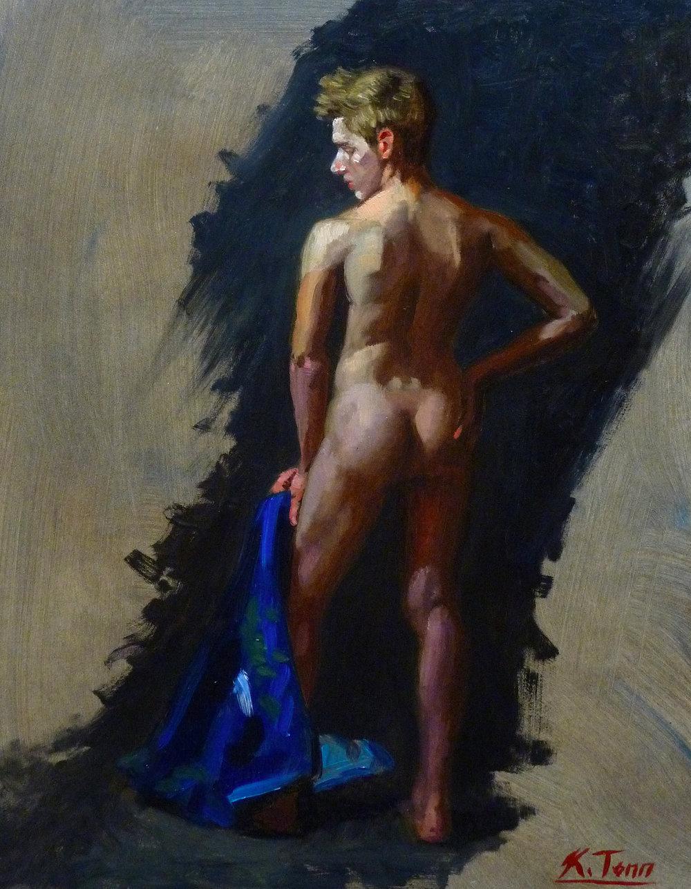 "Nude with Blue Kimono  Oil on panel  14"" x 11"""