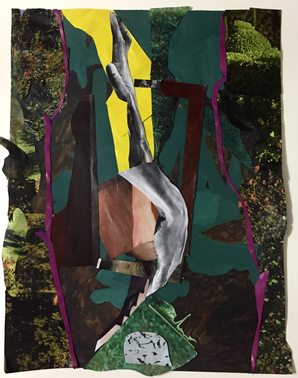 """Untitled 39  Collage and acrylic on paper  Framed, 30"""" x 24"""""""