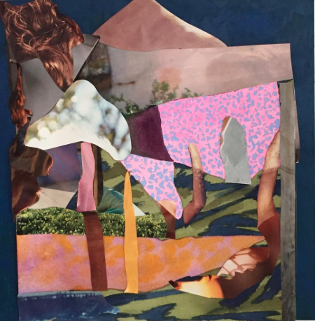 """Untitled 41  Collage and watercolor on paper  Framed, 13"""" x 13"""""""