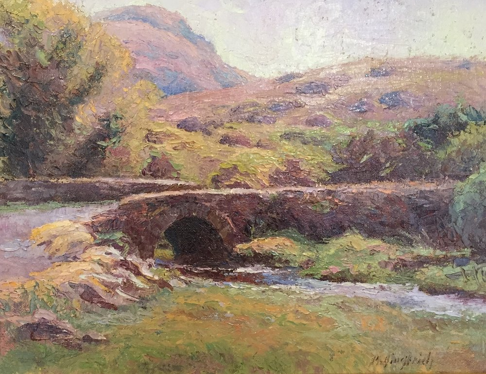 "Irish Bridge  Oil on canvas  Framed, 21"" x 26"""