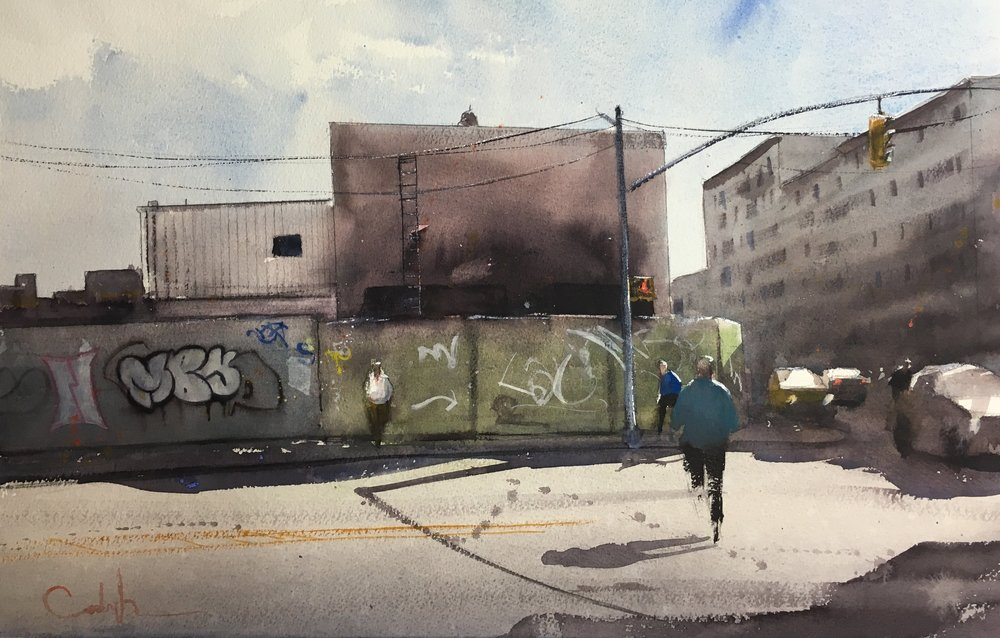 "Sunny Day in Brooklyn  Watercolor on paper  14"" x 21.5"""