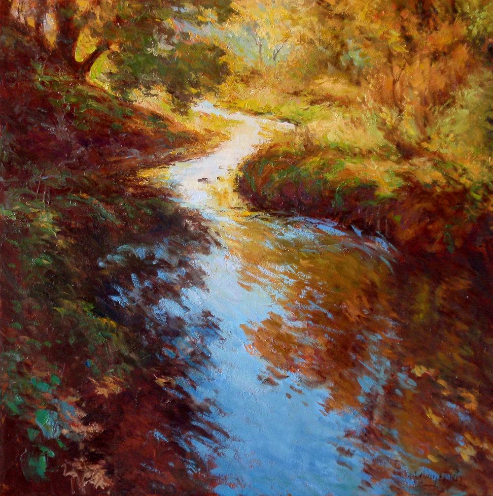 """Autumn Stream  Oil on linen  Framed, 37.5"""" x 37.5"""""""
