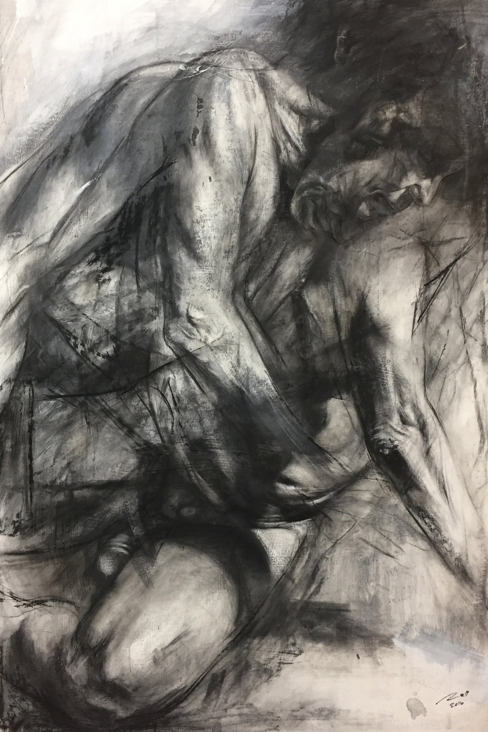 "Excepatum  Charcoal and gesso on paper  40"" x 28"""