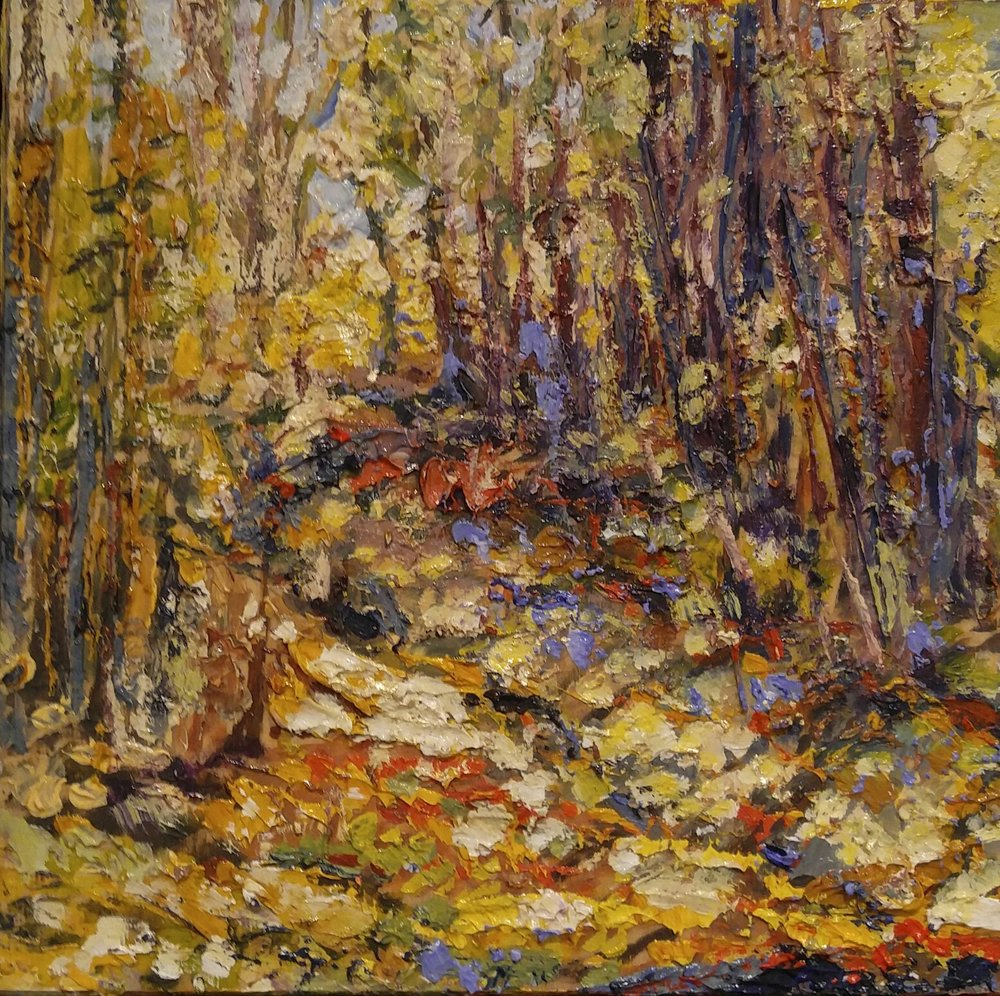 "Wooded Path  Oil on Canvas  10"" x 10"""