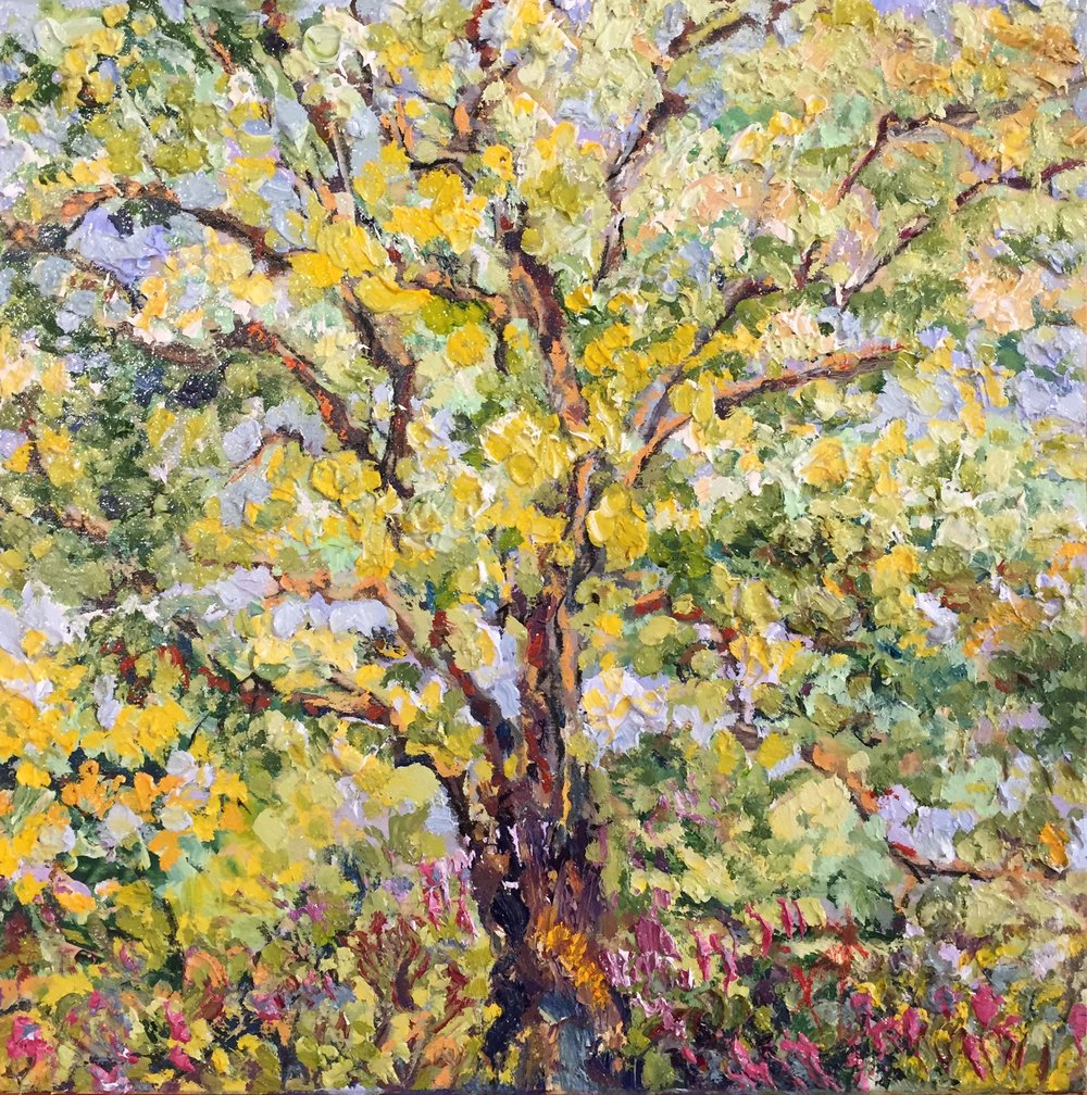 """Gold Leaves, Lavender Flowers  Oil on Canvas  8"""" x 8"""""""