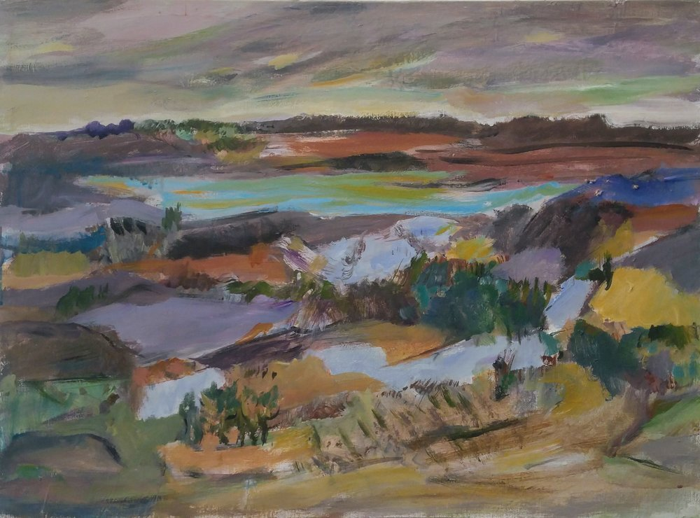 "Landscape (Fields)  Oil on canvas  Framed, 25.5"" x 34"""