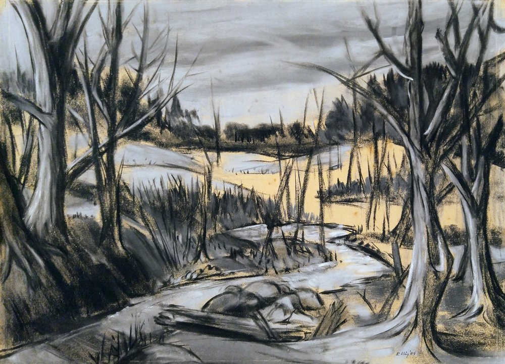 "Walden Woods  Charcoal and pastel on paper  Framed, 25"" x 31"""