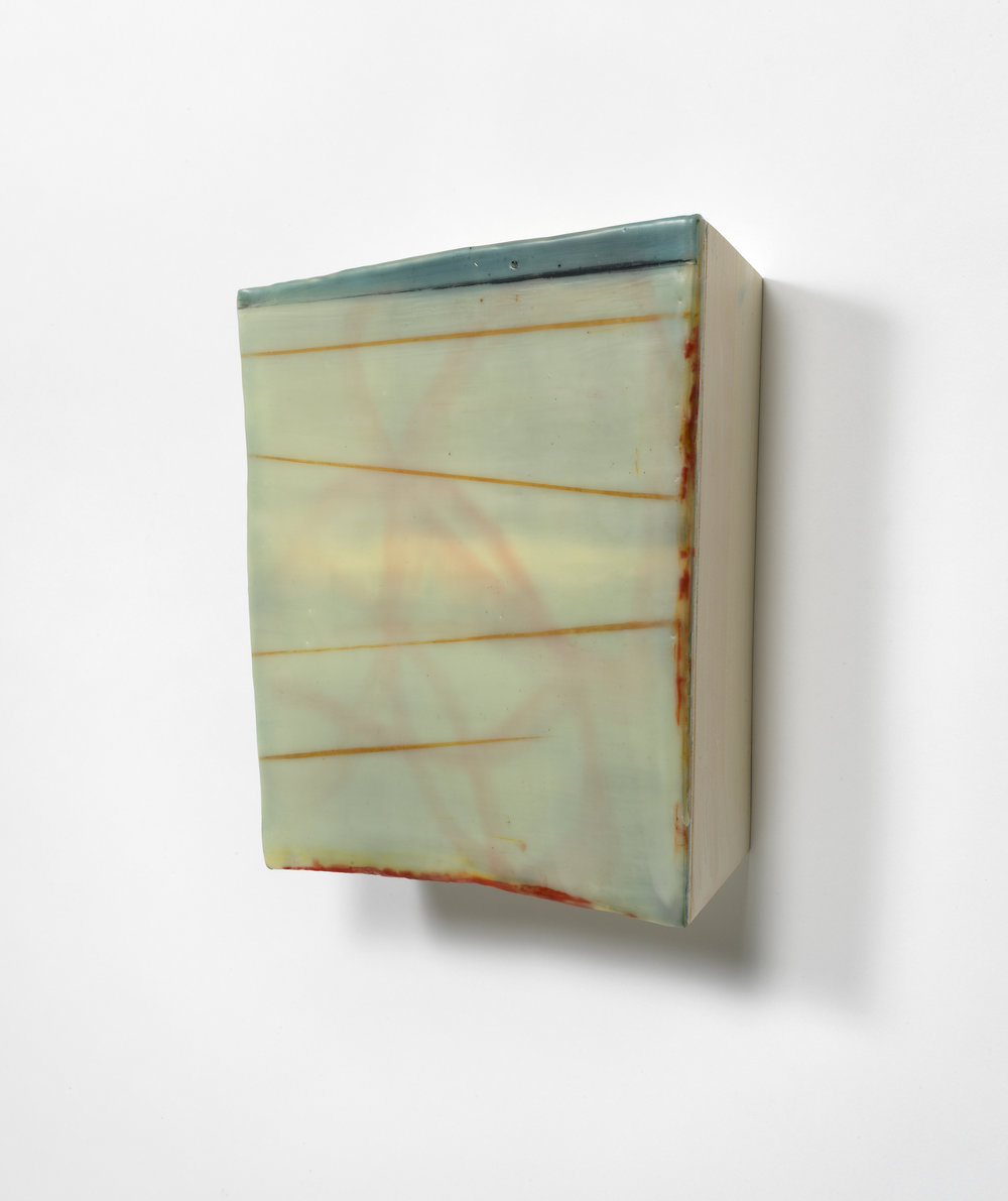 "Air & Steel, No. 31  Oil and encaustic on shaped wood panel  11"" x 10.5"""