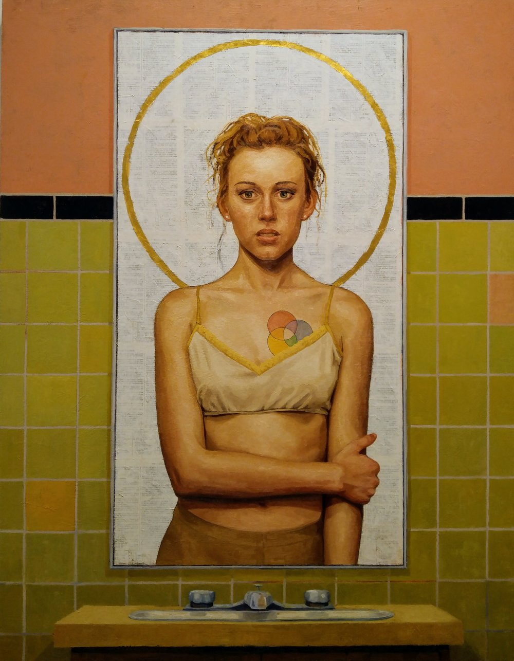 """Adrian Waggoner  On Inventing Saviors  Oil, gold leaf, and bible on canvas  54"""" x 42"""""""