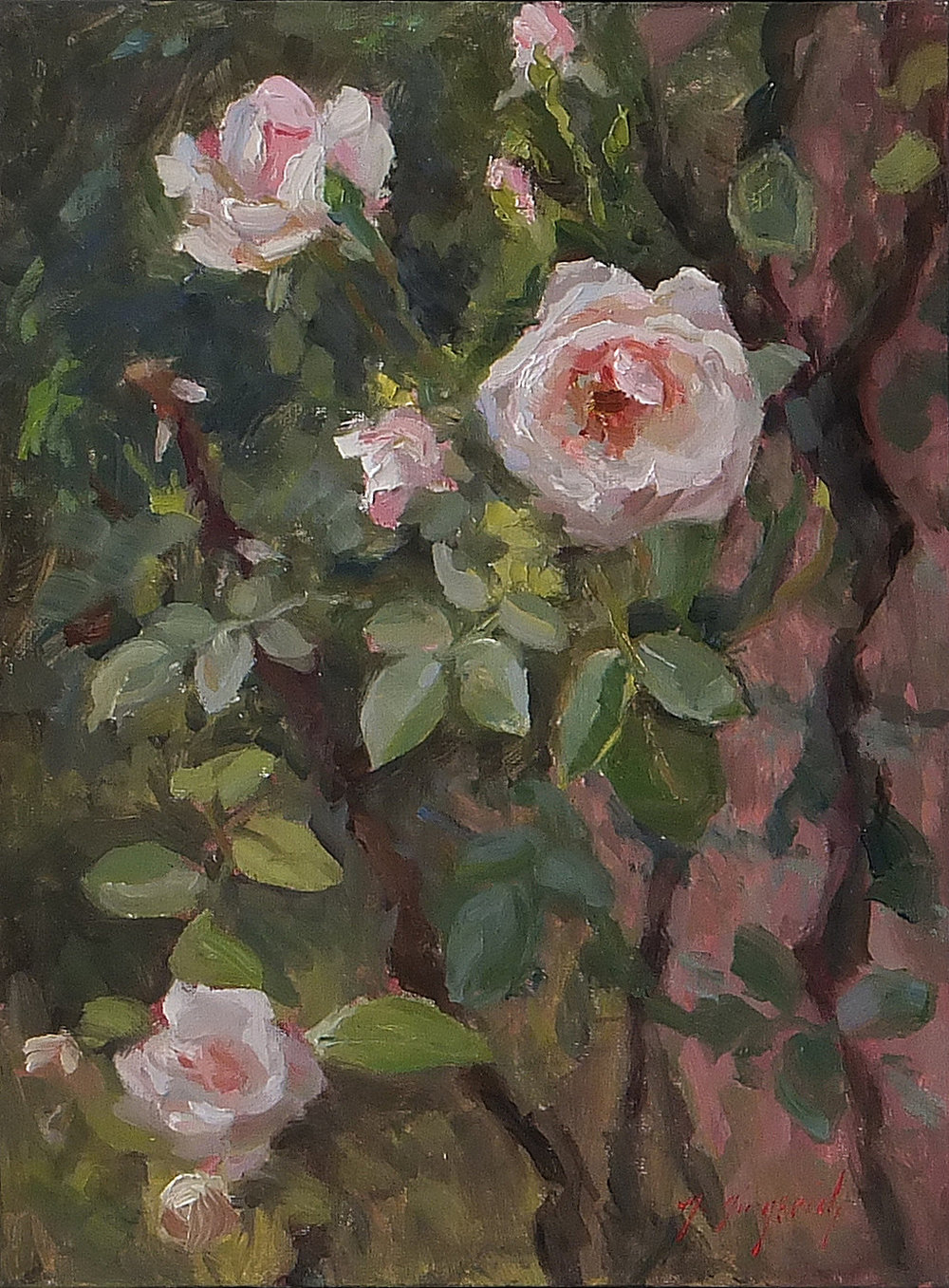 "Climbing Roses  Oil on canvas board  18.25"" x 15.25"" framed"