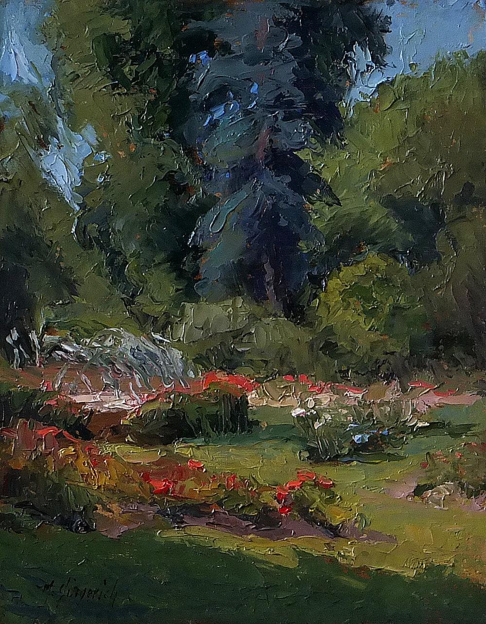 """Whetstone Rose Garden  Oil on board  19.5"""" x 16.5"""" framed"""