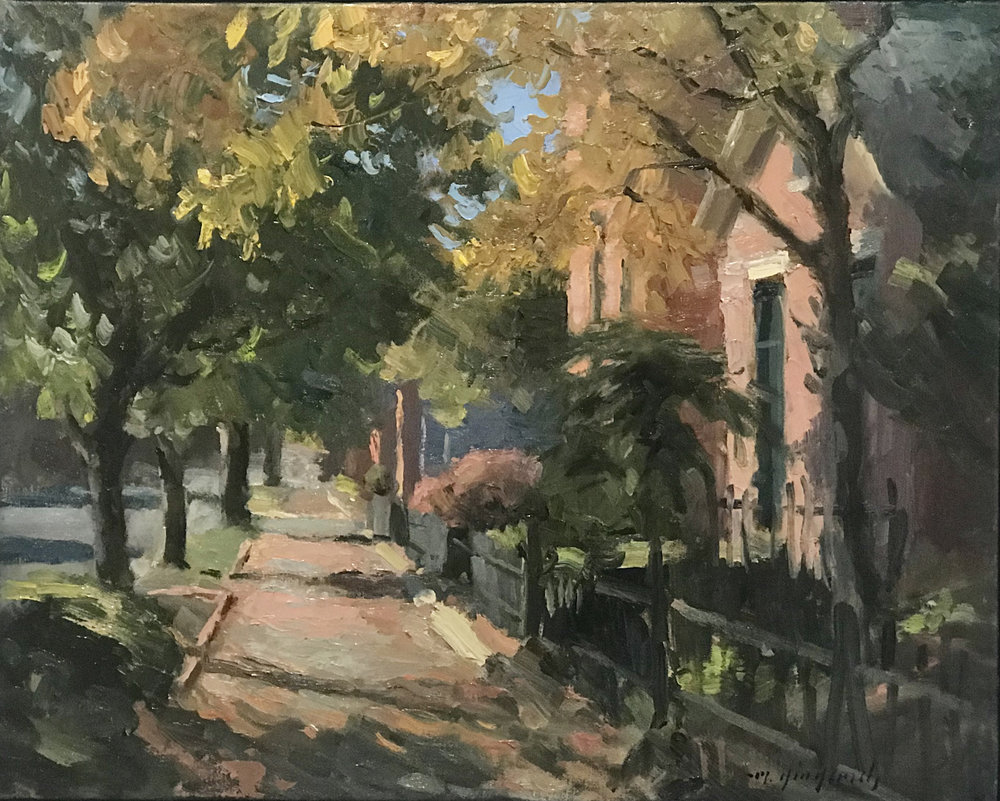 "German Village, Sycamore Street  Oil on canvas  18"" x 22""  framed"
