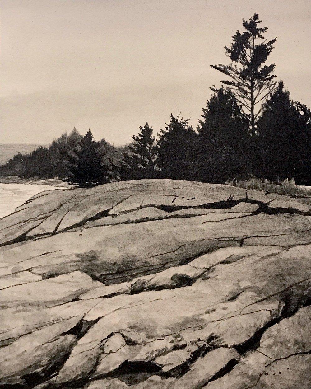 "Maine Coast l  Liquid graphite on paper  19"" x 17"" framed"