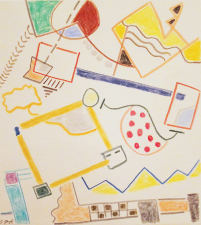 """Composition 8  Colored pencil on paper  12 1/2"""" x 11 1/2"""""""