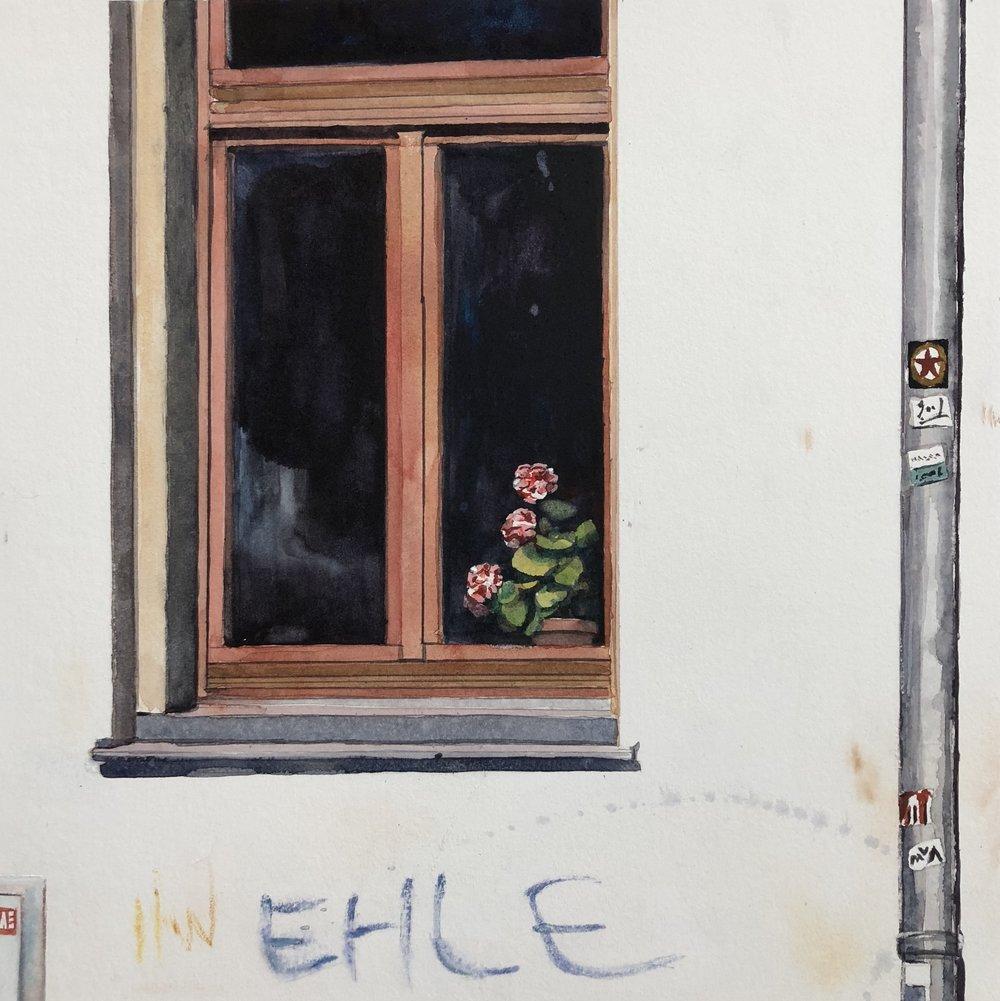 "Dresden Window lll  watercolor on paper  17.25"" x 17.25"""