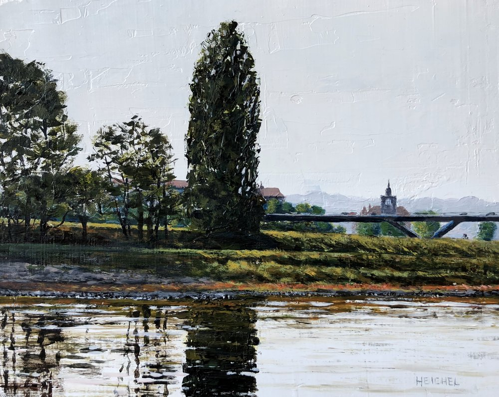 "Elbe River Reflection  Acrylic on panel  8"" x 10"""