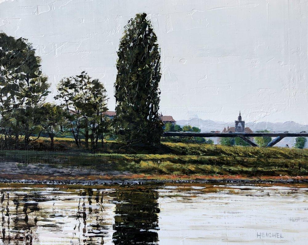 "Elbe River Reflection  Acrylic on panel  8"" x 10"""