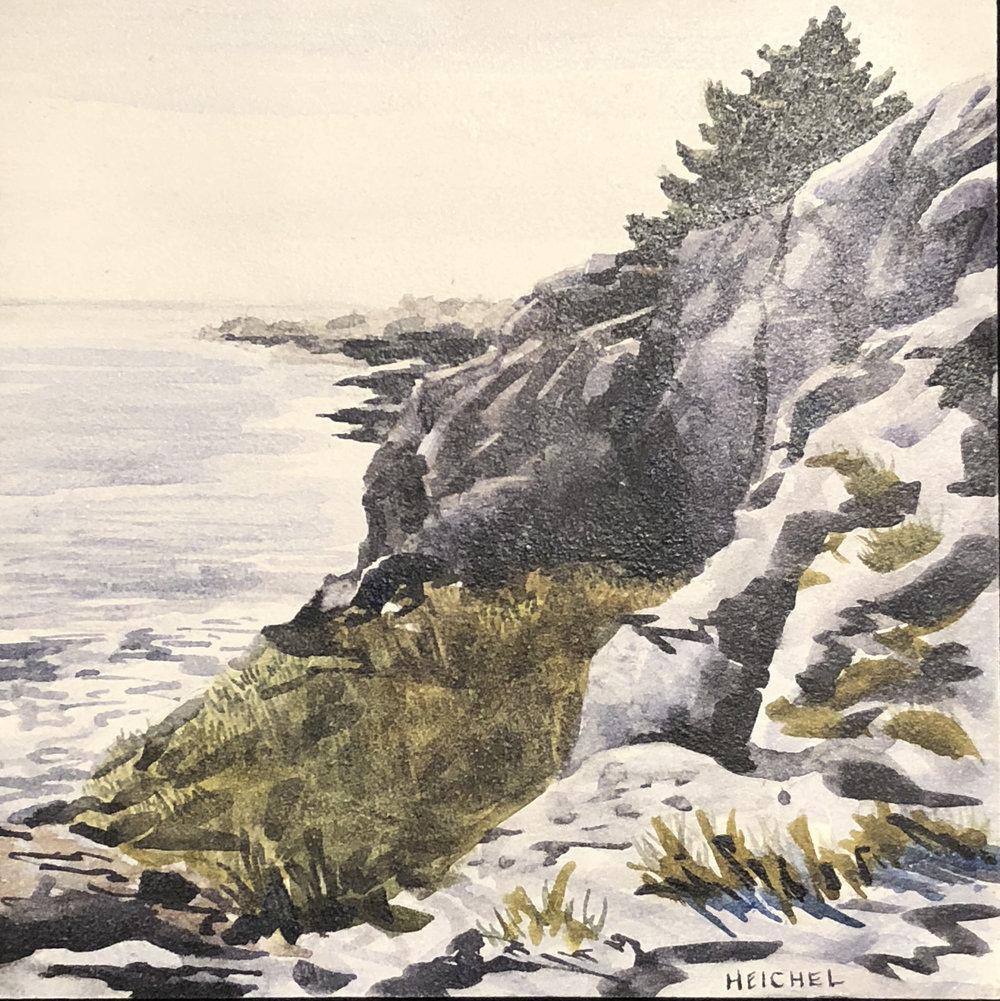 "Monhegan Cliffs ll  Acrylic on panel  6"" x 6"""