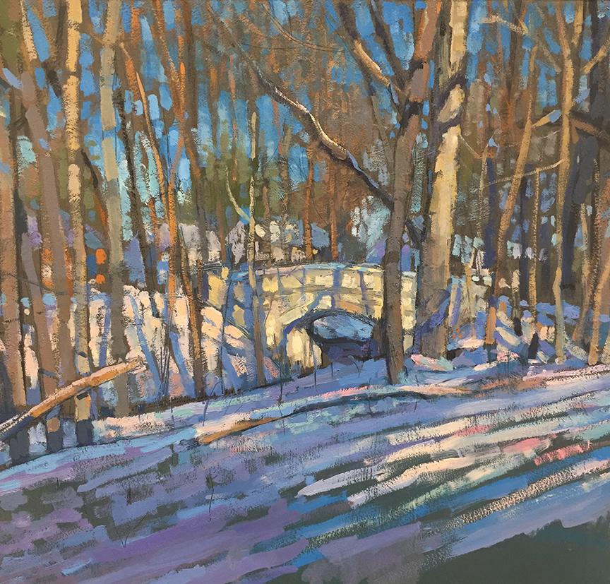 "Old Beechwold Bridge -Winter 19  Oil on panel  13"" x 13"" framed"