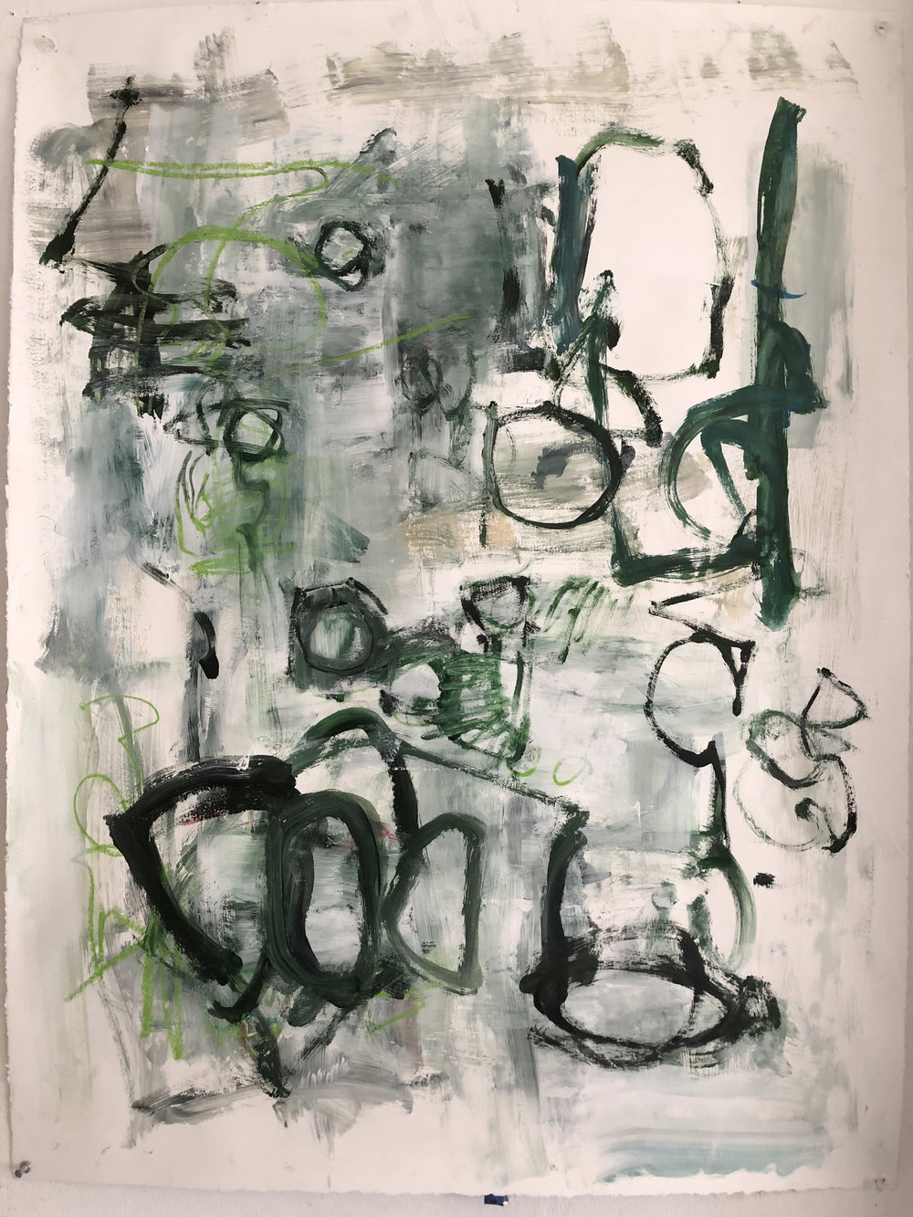"Untitled, Green  Oil on paper  40"" x 30'"