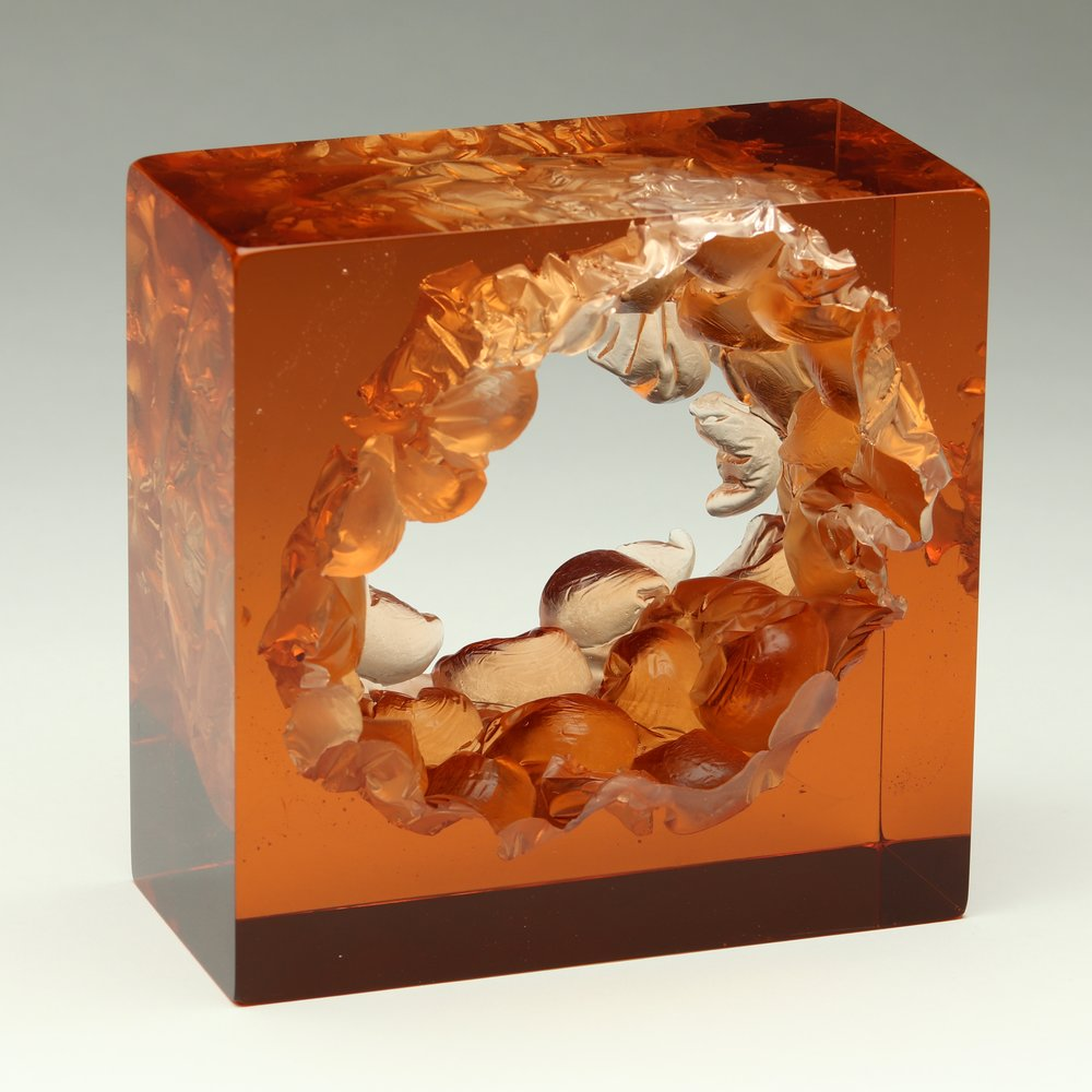 "Peach Bubble Wrap Cube  Kiln cast glass  5"" x 5"" x 3"""