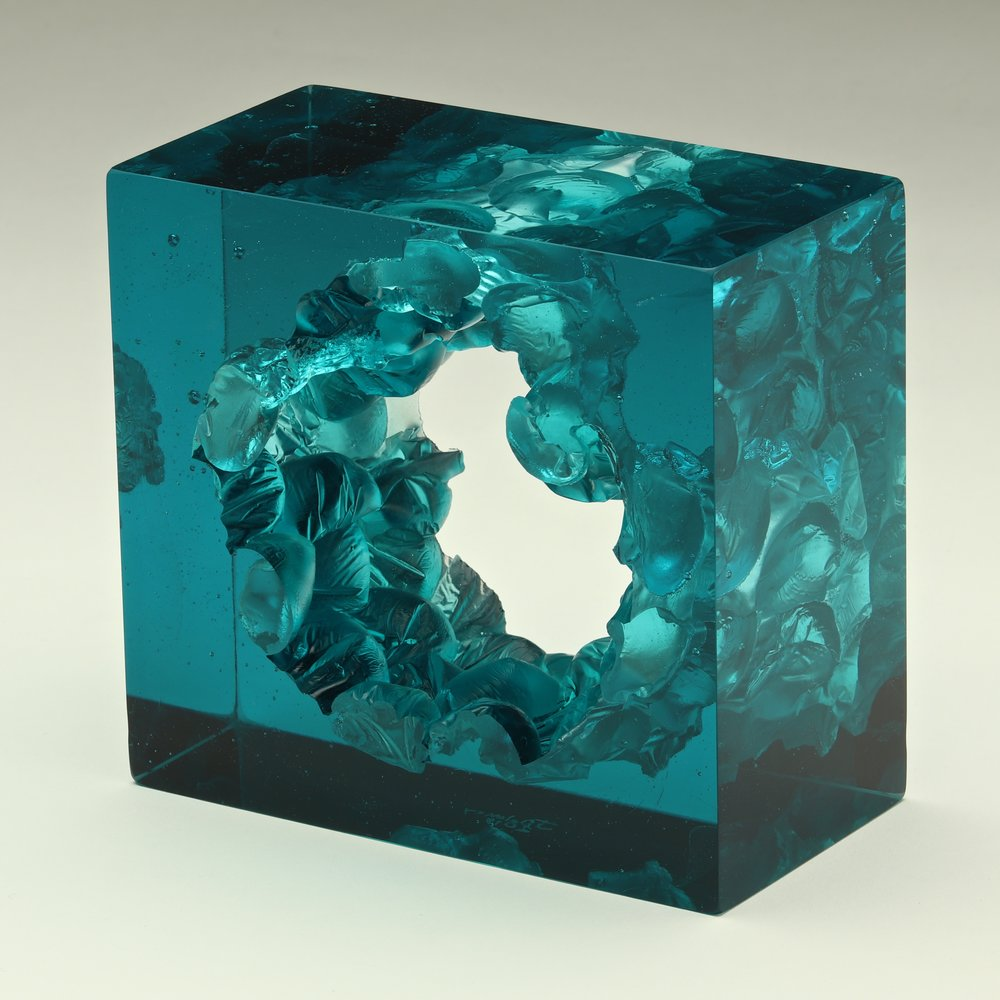 "Aquamarine Cube  Cut Glass  6"" x  5"" x  3"""