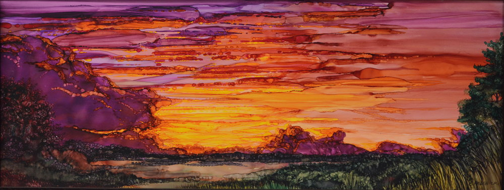 "Sunset Series II (4)  Alcohol ink & acrylic on ""Yupo"" paper.  10"" x 24"""