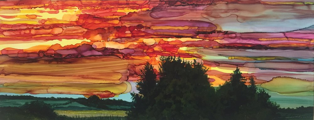 "Sunset Series I (11)  Alcohol ink & acrylic on ""Yupo"" paper.  5.5"" x 14"""