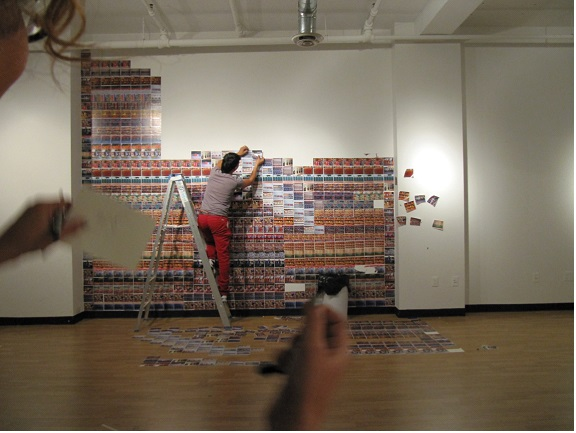 "Installing Chiko Chazunguza's exhibition ""Bounty"" at Gallery 101, Ottawa"