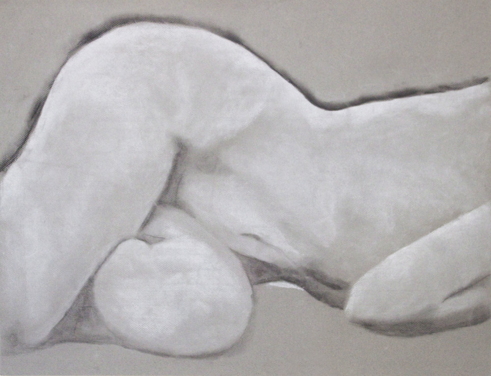 "18""x36"" White Conte Crayon and Charcol on Grey Paper"