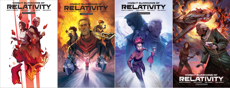 Knight Guardians of Relativity Comics (Issues #1-4) published by TITAN1STUDIOS and distributed to comic shops everywhere by Diamond Comics Distributors.
