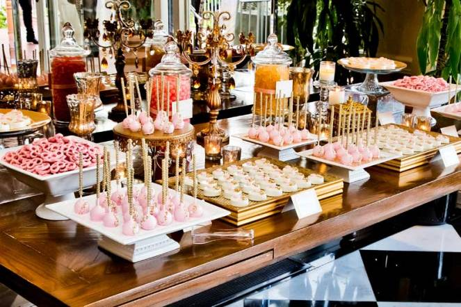 Gold and Bubblegum Pink Dessert table wedding decor idea by La ...