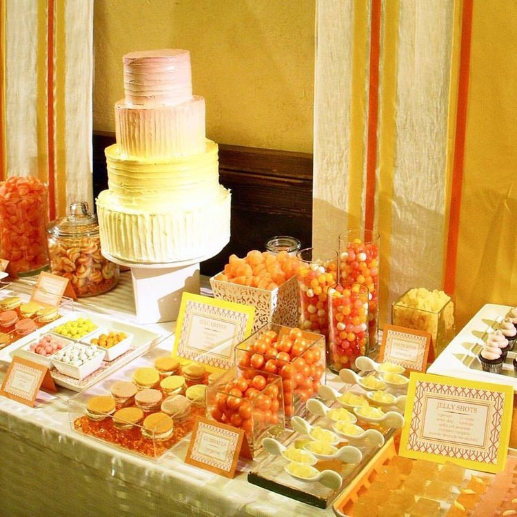 Bright citrus colors wake up your wedding dessert table