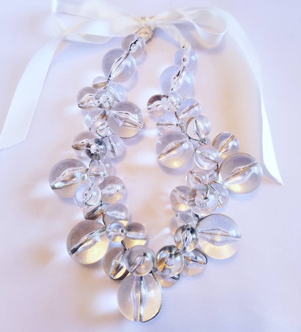 We love this acrylic bubble necklace for any strapless or open neckline, mid century bridal gown.
