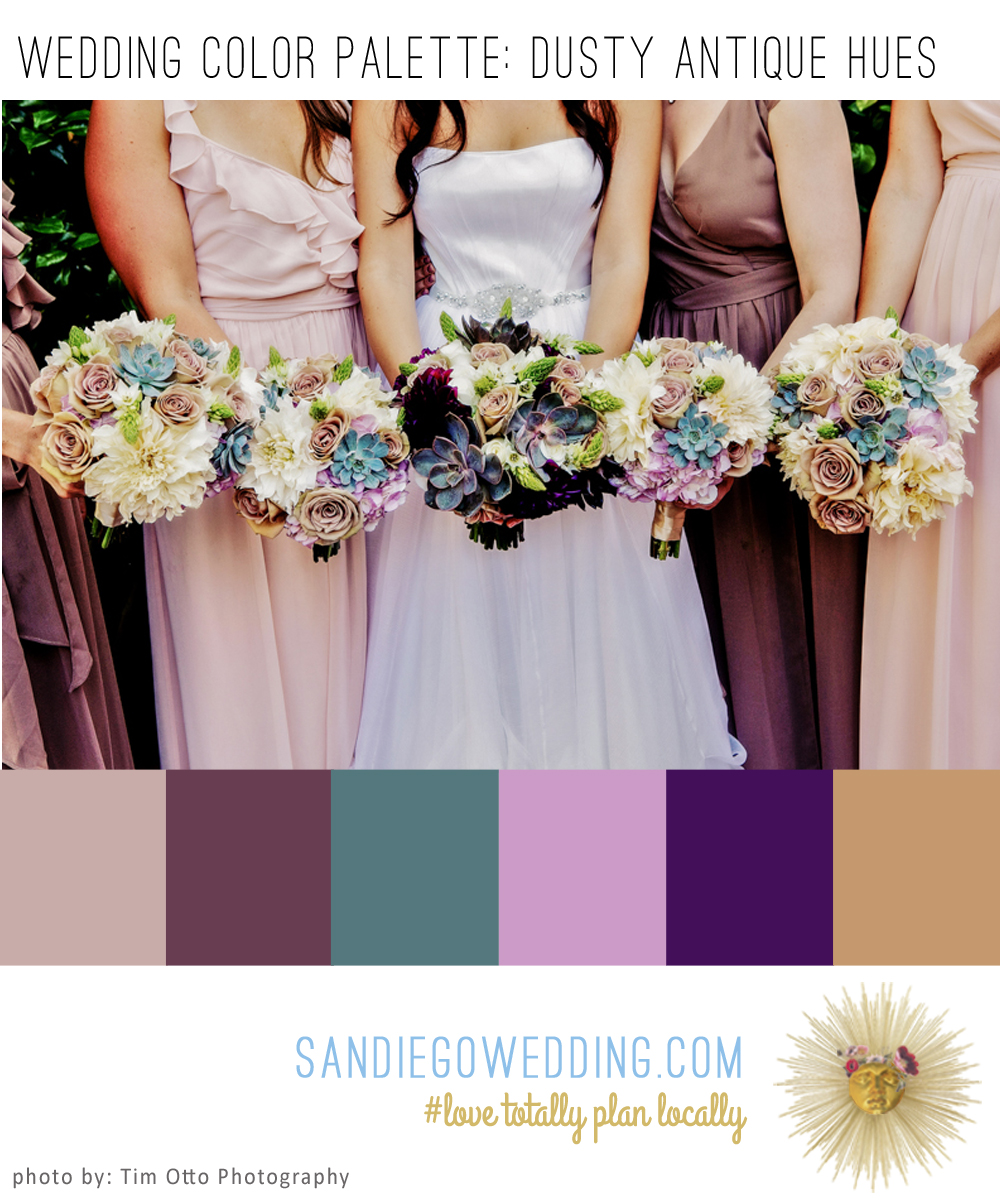 Dusty antique hues make for a rich and vintage wedding color palette wedding captured by tim otto photography this months color palette board artist junglespirit Gallery