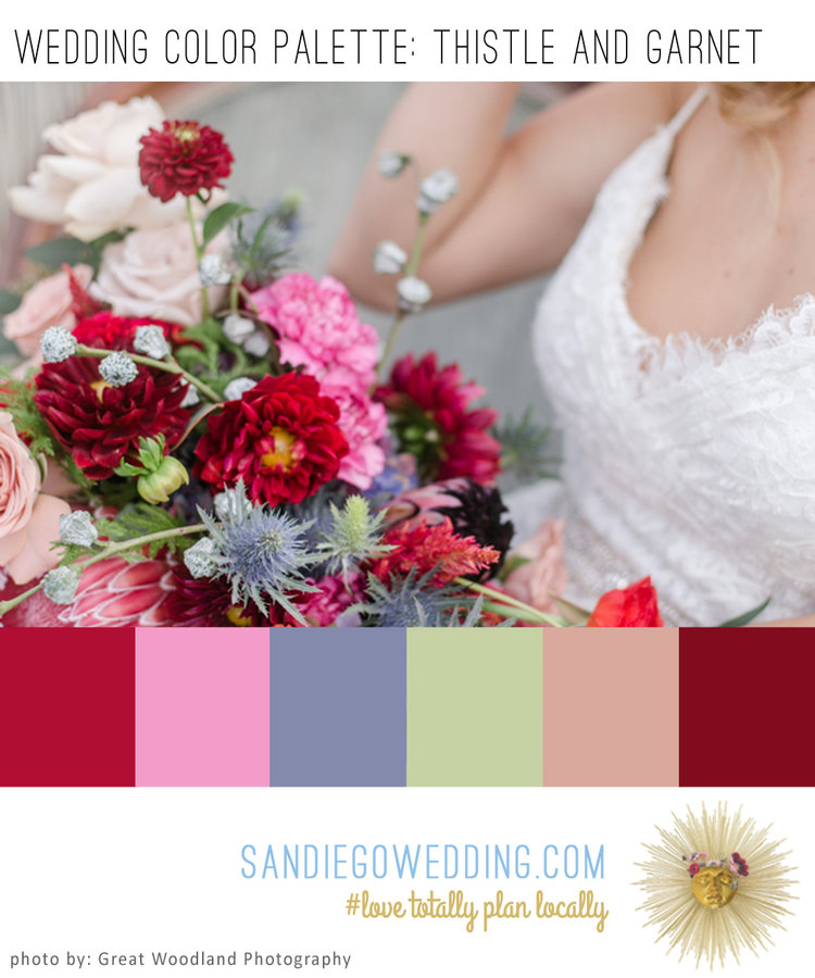 Beautiful Wedding Bouquet Of Periwinkle Thistle And Garnet Enriches Todays Color Palette Board