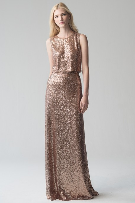 Gorgeous sequin combo by Jenny Yoo is perfect for your maids in a formal wedding wedding.
