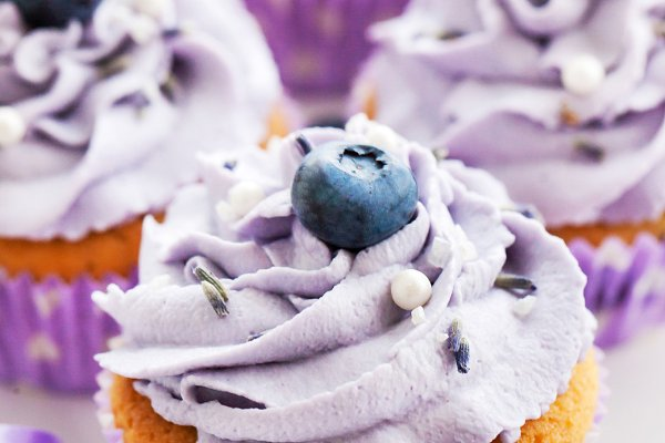 "Photo by Shanel | Vanilla Cupcakes with Blueberry + Lavender Frosting | ""Fruity Cupcakes"""
