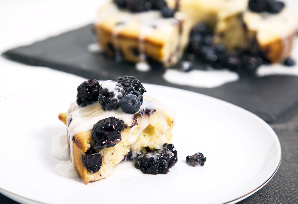 Photo by Joe Amella Jr - Buttermilk Pound Cake with drizzle + berries