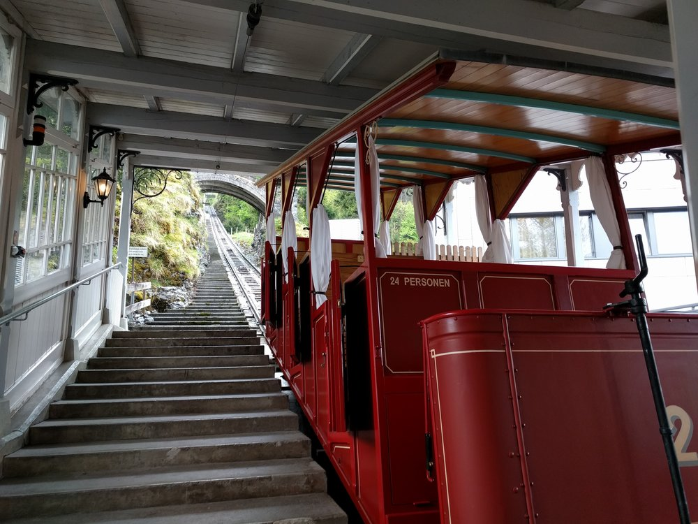 You take this tiny, open-air tram—which is 100 years old and which made its first run of the season when I stepped on. It usually opens on May 15, but because of good weather this year it was able to open on May 4—the day, 126 years ago, that Holmes and Watson decided to take a leisurely stroll. In case you're wondering, yes, I did have my eyes closed for the entire six-minute ride.