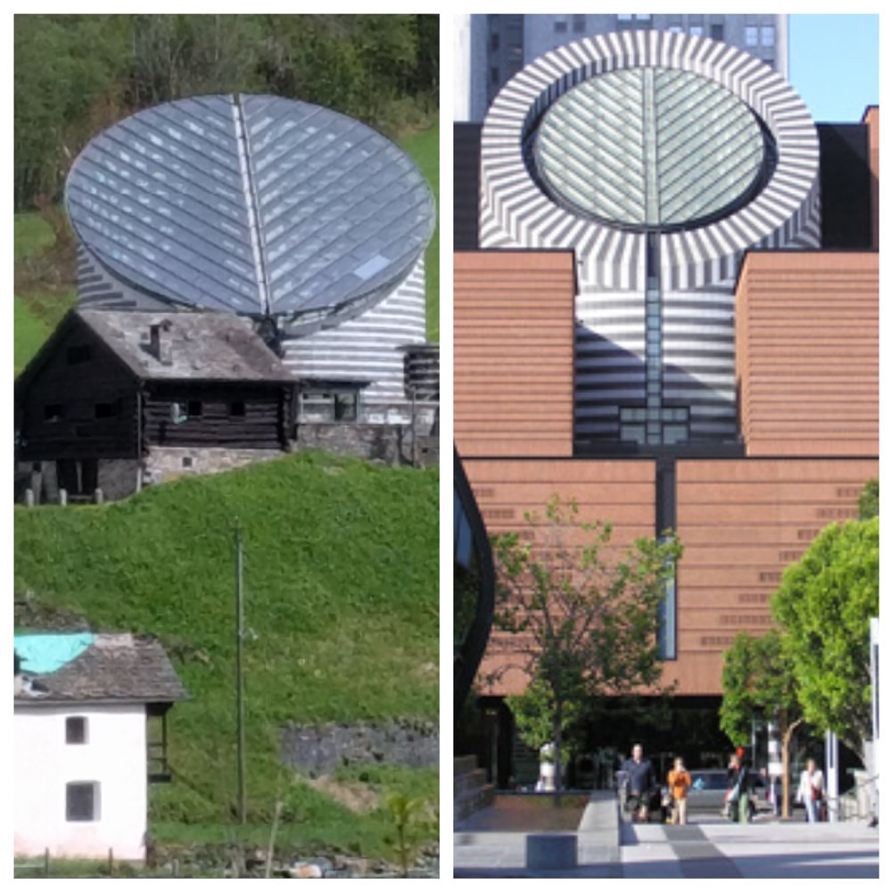 Left: Church of San Giovanni Battista, Mogna, Switzerland Right: San Francisco Museum of Modern Art
