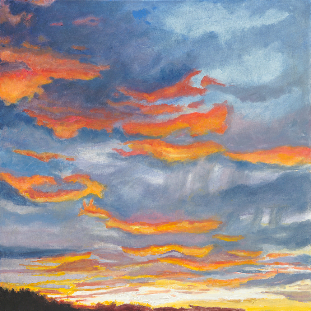 "September Sunset 36 x 36"" Aqua Oil"