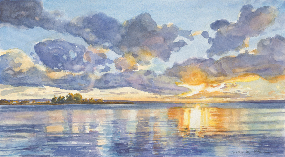 "Mac's Sunrise 11 1/2 x 20"" Watercolor"