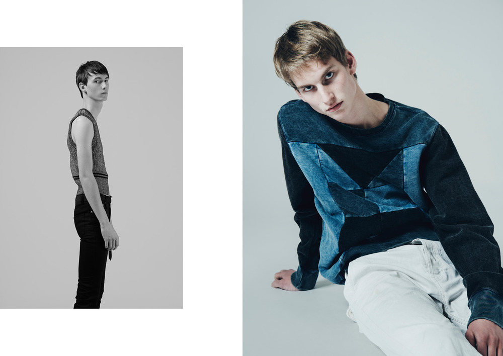 Tyas wears a top by RODARTE for & OTHER STORIES & a pants by SAINT LAURENT  Thom wears a sweatshirt & a jeans by DIESEL