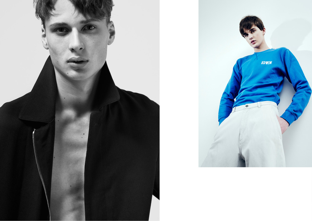 Cyriel wears a coat by LACOSTE   Senna wears a sweatshirt by EDWIN & a jeans by COS