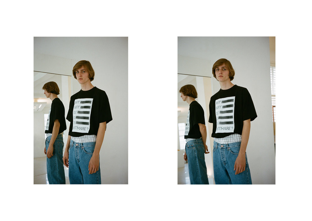 Tee  Raf Simons , jeans  Acne Studios  and underwear stylist's archive