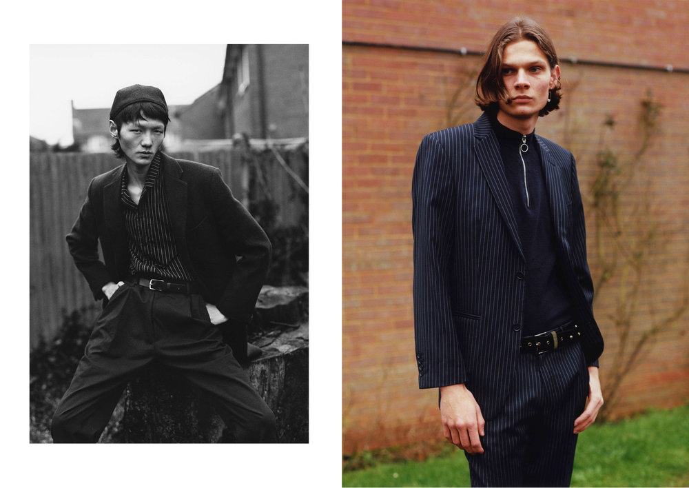Left Coat  Saint laurent by Anthony Vaccarello , shirt  Cos , pants  Alexander McQueen , beret and belt stylist's own  Right Suit  Jeff Banks , top  Topman  and belt  stylist's own